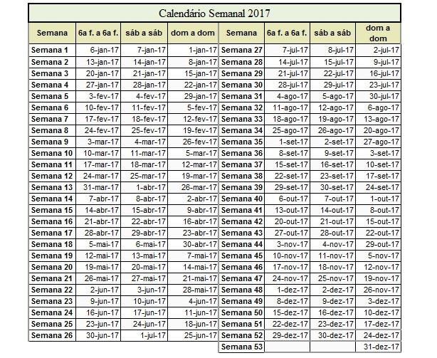 calendario semanal 2017